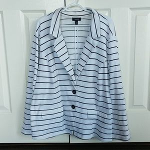 Torrid white and black striped buttoned blazer